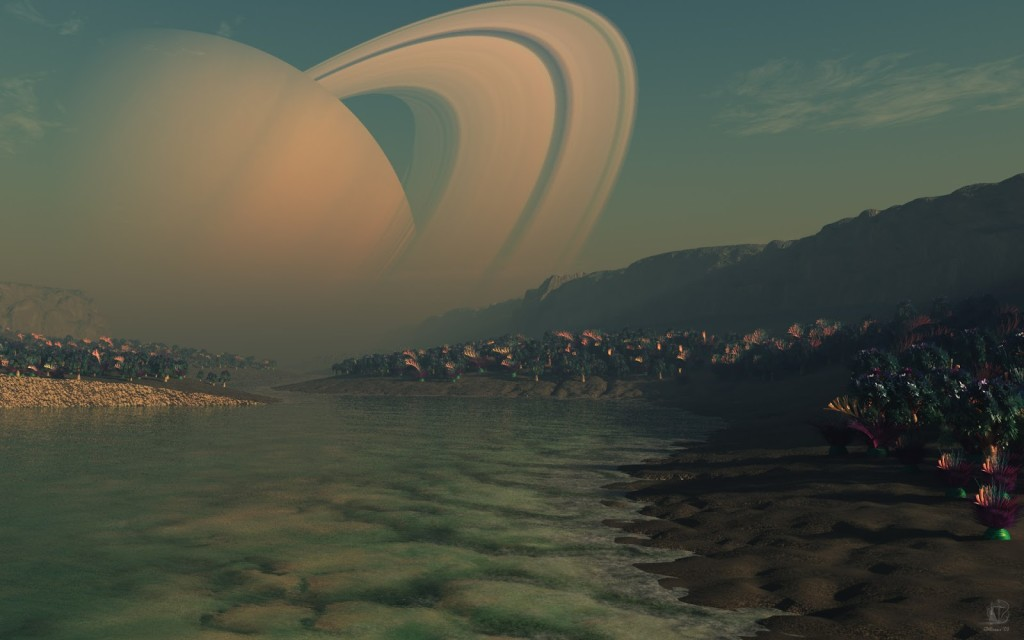 view of Saturn from titan