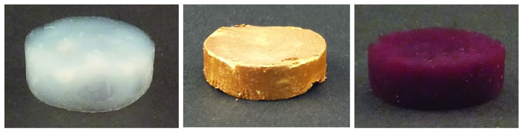 From left to right: A foam of amyloid protein fibres without gold; Gold aerogel made of gold microparticles; Gold aerogel with gold nanoparticles. Photo credits: Nyström G et al. Advanced Materials 2015.