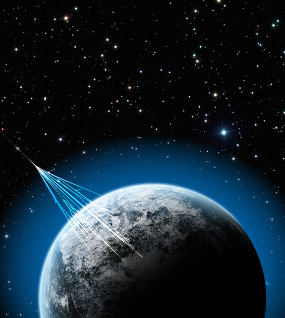 Cosmic rays hitting our planet, colliding with atoms and molecules in the Earth's atmosphere. Lighter particles like muons are thus produced and rained down on us.