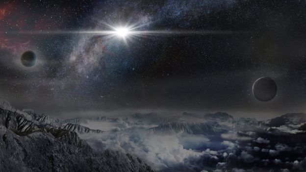 Artist's impression of the supernova seen from an imaginary planet 10,000 light years away. Photo credits: BEIJING PLANETARIUM.