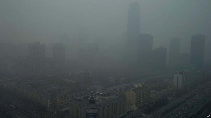 Air pollution in Beijing, China.