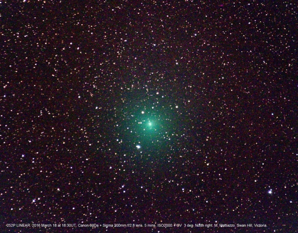 One of the comets, 252P/LINEAR, will appear green. Photo credits: M. Mattiazzo.