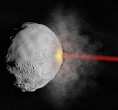 Using laser technology to destroy asteroids. Photo credits: Kosmo et al.
