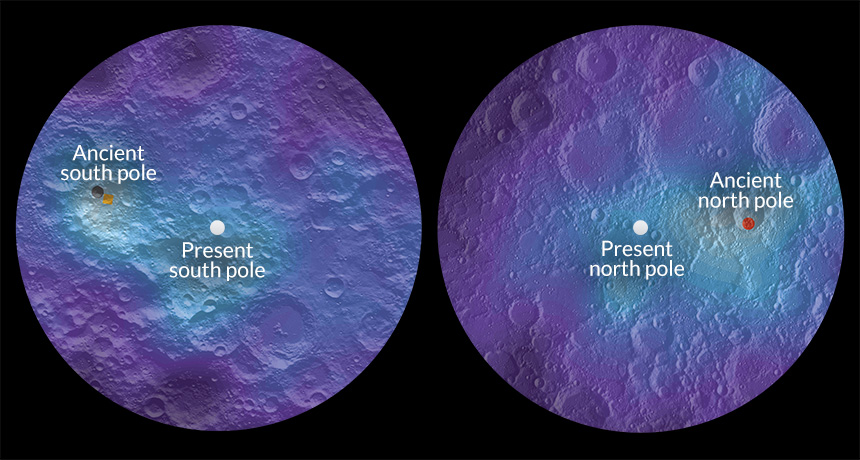 The ancient and current north and south poles of the moon. Photo credits: JAMES TUTTLE KEANE.