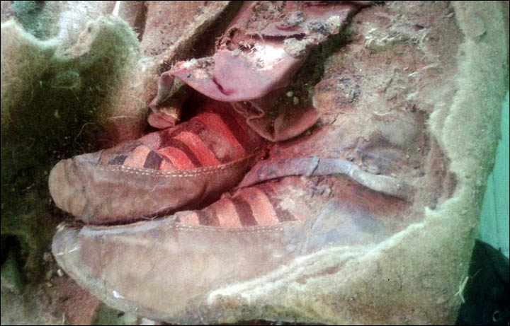 The 'Adidas' shoes found with the mummy.
