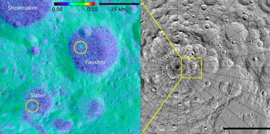 Using data from the LAMP instrument aboard the Lunar Reconnaissance Orbiter, a Southwest Research Institute-led team of scientists discovered two geologically young craters -- one (right) 16 million, the other (left) between 75 and 420 million, years old -- in the Moon's darkest regions. One lies within Slater Crater, named for the late Dr. David C. Slater, a former SwRI space scientist who designed and built the LAMP instrument. Credit: Albedo map credit: NASA GSFC/SwRI; Topographic map credit: NASA GSFC/ASU Jmoon