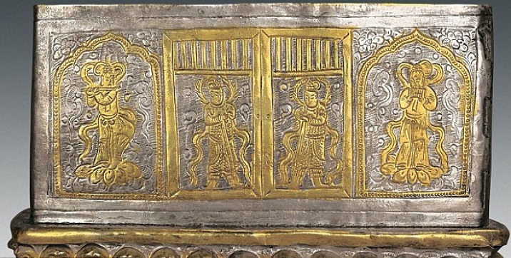 The silver casket with intricate images. Photo credits: Chinese Cultural Relics.