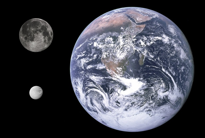 Diameter comparison of Saturn's moon Dione, the Moon and Earth. Photo credits: Earth image: NASA; Lunar image: Gregory H. Revera; Moon Dione image: ASA/JPL/Space Science Institute. Via Wikimedia Commons.