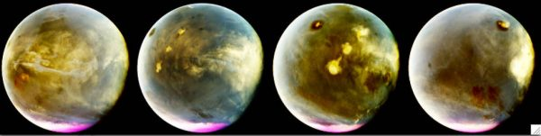 Rapid cloud formation on Mars. Images taken on July 9-10, 2016. The UV colours have been transformed into false colour to depict what we'd see if we had UV-sensitive eyes. The images shown here represent a quarter of Mars' day. Left part of the planet is in the morning while the right side is in the afternoon. White clouds can also be seen moving over volcanoes. Photo credits: NASA/MAVEN/University of Colorado.